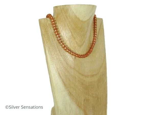Orange Red Aventurine Heishi & Peach Beads Sterling Silver Necklace | Silver Sensations